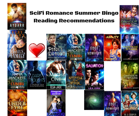 SciFi Romance Summer Bingo Reading Recommendatrions canva
