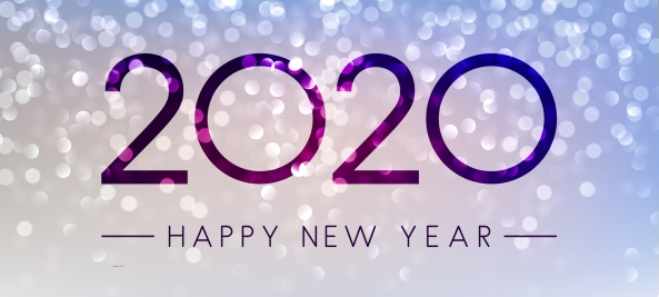 Lilac shiny Happy New Year 2020 background.